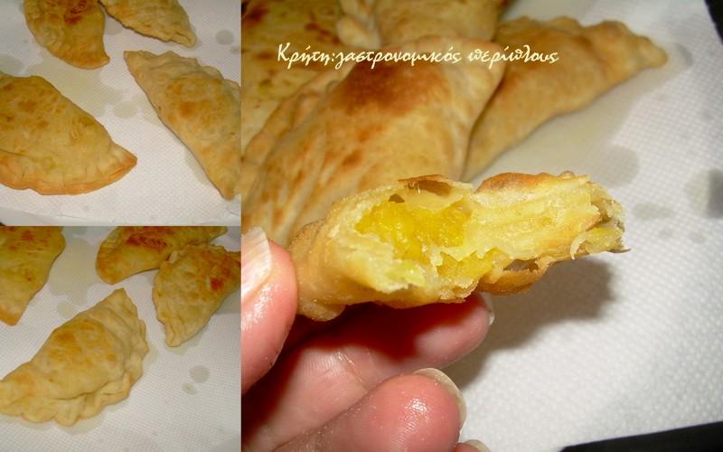 Κρητικές κολοκυθόπιτες τηγανιού με γλυκοκολοκύθα