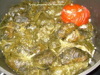 Ντολμάδες με γούλα (σέσκουλα) και γέμιση κιμά