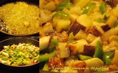 Μακαρονάδα με σάλτσα μελιτζάνας και πιπεριάς και ξινομυζήθρα