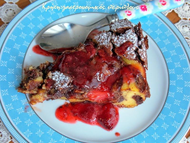Σοκολατένιο κέικ μυζήθρας με φράουλες