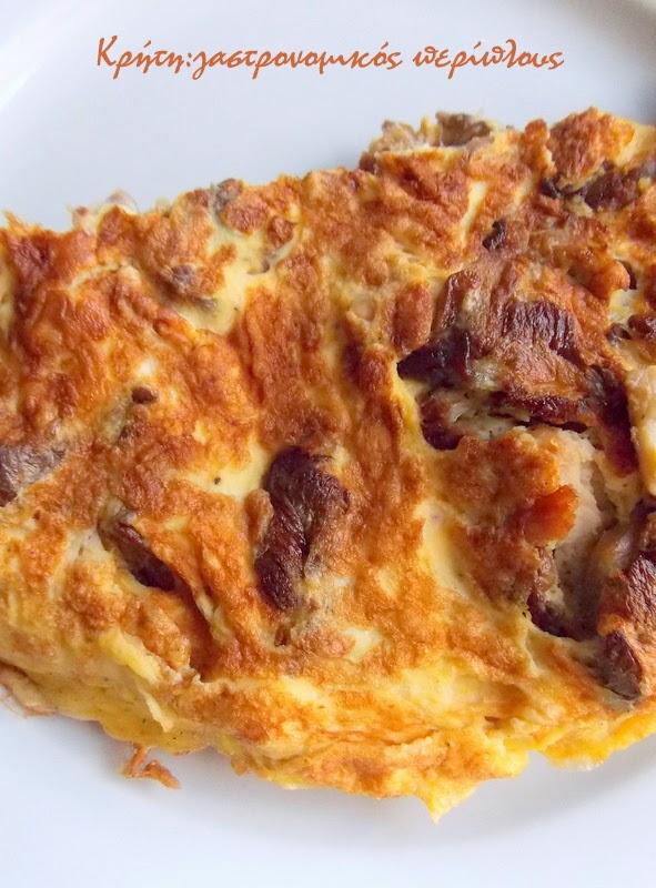 Μανιτάρια + Απάκι+ Κεφαλογραβιέρα + Αυγά = Ομελέτα!