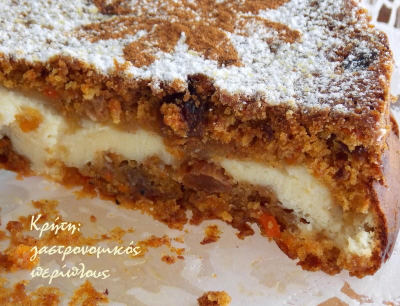 Κέικ καρότου με γέμιση γλυκιάς μυζήθρας