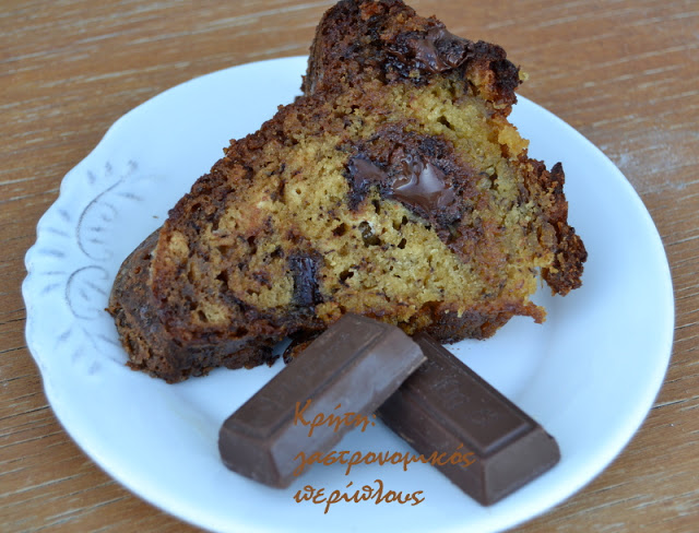 Κέικ μπανάνα-σοκολάτα με ελαιόλαδο