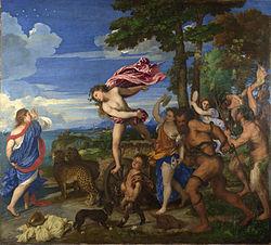 Ο Βάκχος και η Αράδνη στη Νάξο, πίνακας του Τιτσιάνο. Πηγή: https://el.wikipedia.org/wiki/%CE%9D%CE%AC%CE%BE%CE%BF%CF%82
