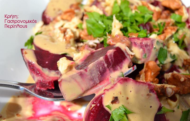 Παντζαροσαλάτα με σάλτσα ταχινιού
