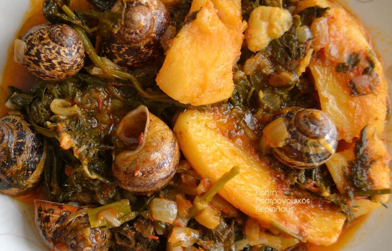 Το γιαχνάκι: γιαχνερά χόρτα με πατάτες και (ή χωρίς) χοχλιούς