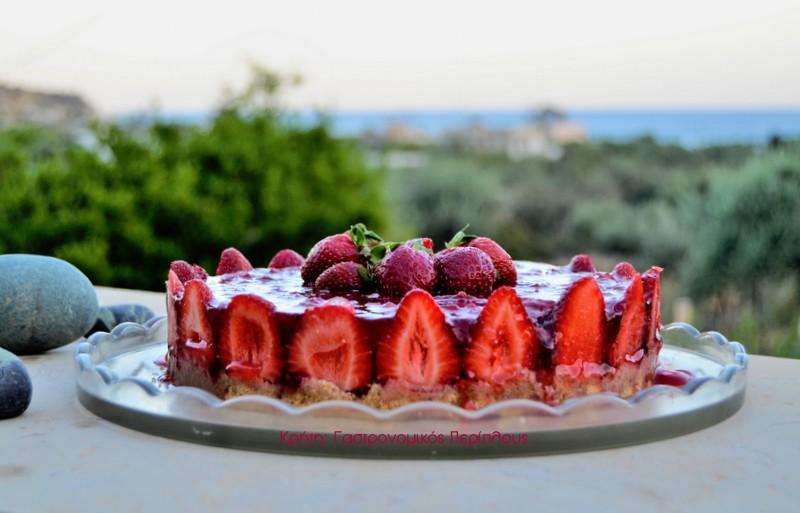 Τούρτα φράουλα με κρέμα γιαουρτιού