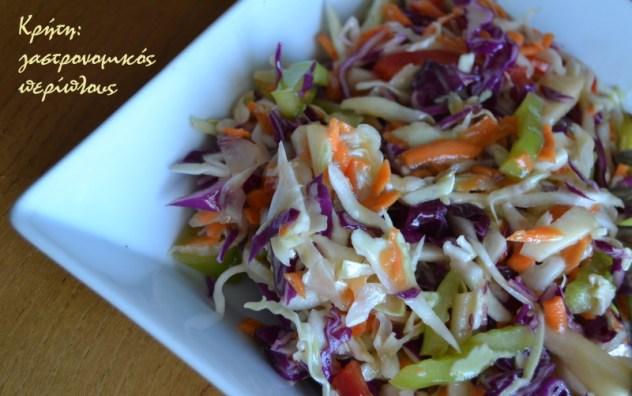 πολύχρωμη λαχανοσαλάτα λάχανο σαλάτα μενού 41 κολάζ συνταγές cretangastronomy.gr