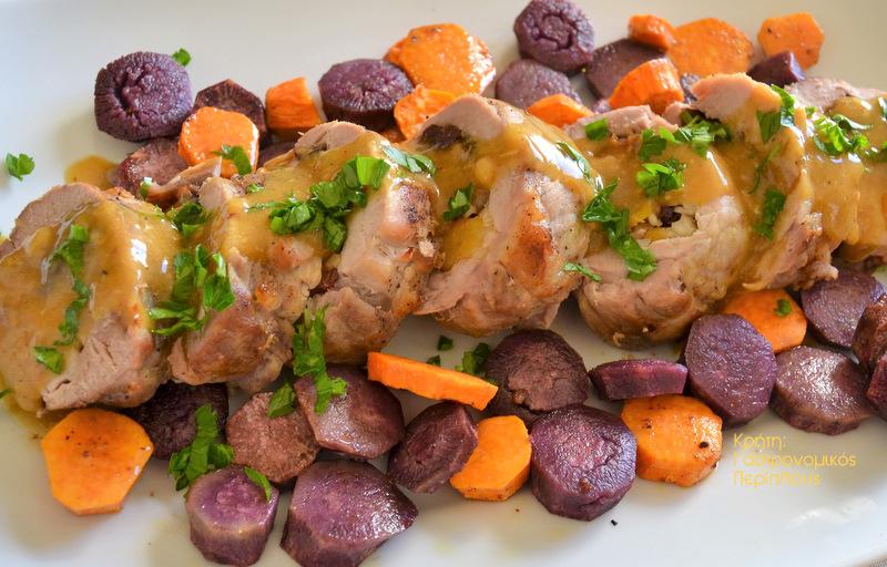 Ψαρονέφρι με δαμάσκηνα, βερίκοκα και μανιτάρια στο φούρνο