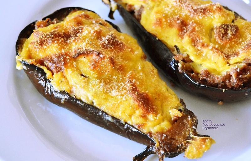 Μελιτζάνες παπουτσάκια με κιμά και κρέμα ή τυρί