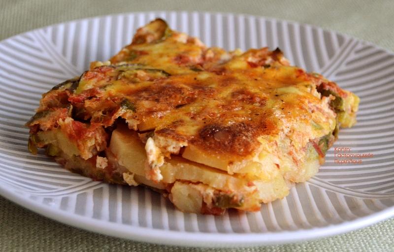 Σφουγγάτο με κολοκύθια και πατάτες στο φούρνο