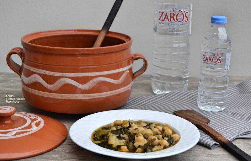 Ρεβίθια με πράσα και σπανάκι, στη γάστρα ή στην κατσαρόλα