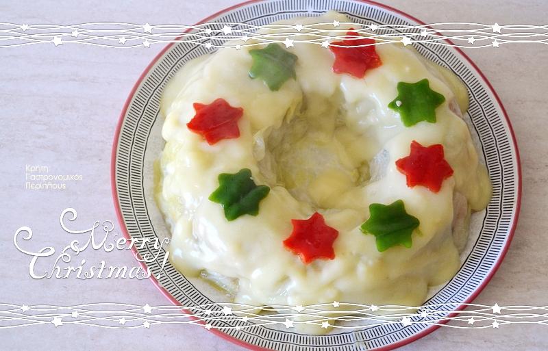 Λαχανοντολμάδες τούρτα με σάλτσα-κρέμα αυγολέμονο