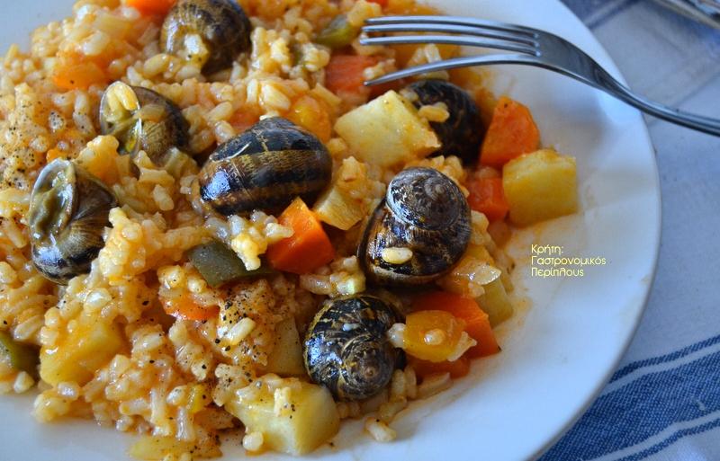 Ρύζι με λαχανικά εποχής (και χοχλιούς αν μας αρέσουν)