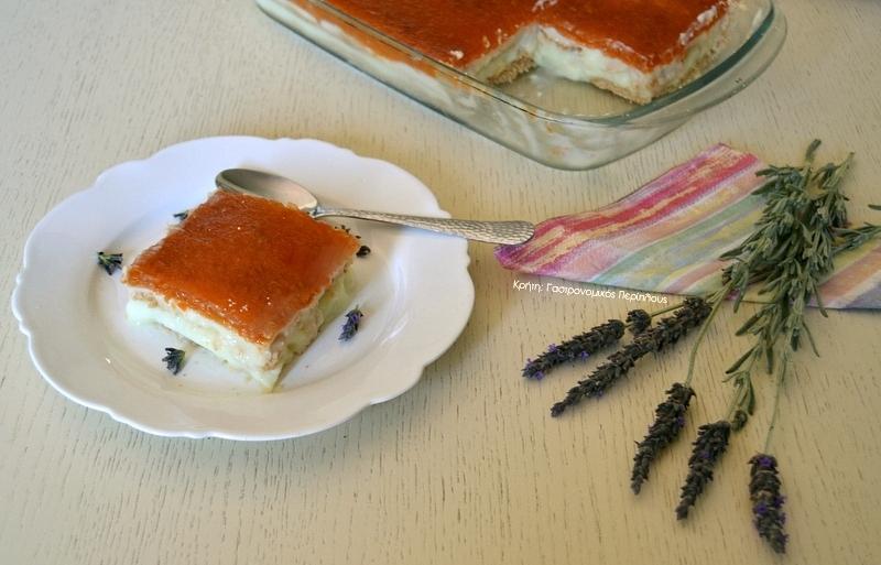 Μπισκοτογλυκό με ζελέ, άνθος αραβοσίτου και φρέσκα φρούτα