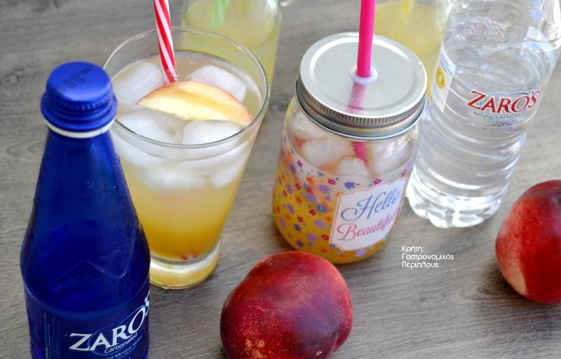 Σιρόπι και σπιτικό αναψυκτικό ροδάκινο