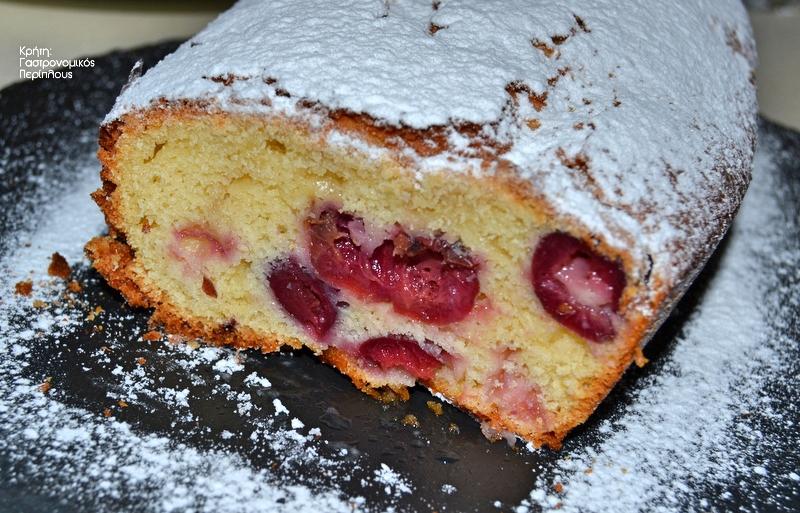 Κέικ ελαιολάδου με κεράσια